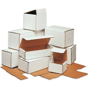 "6.1875"" x 5.375"" x 2.5"" White Lightweight Light Shipping Corrugated Mailer Mailing Postal Boxes 50 Pc"