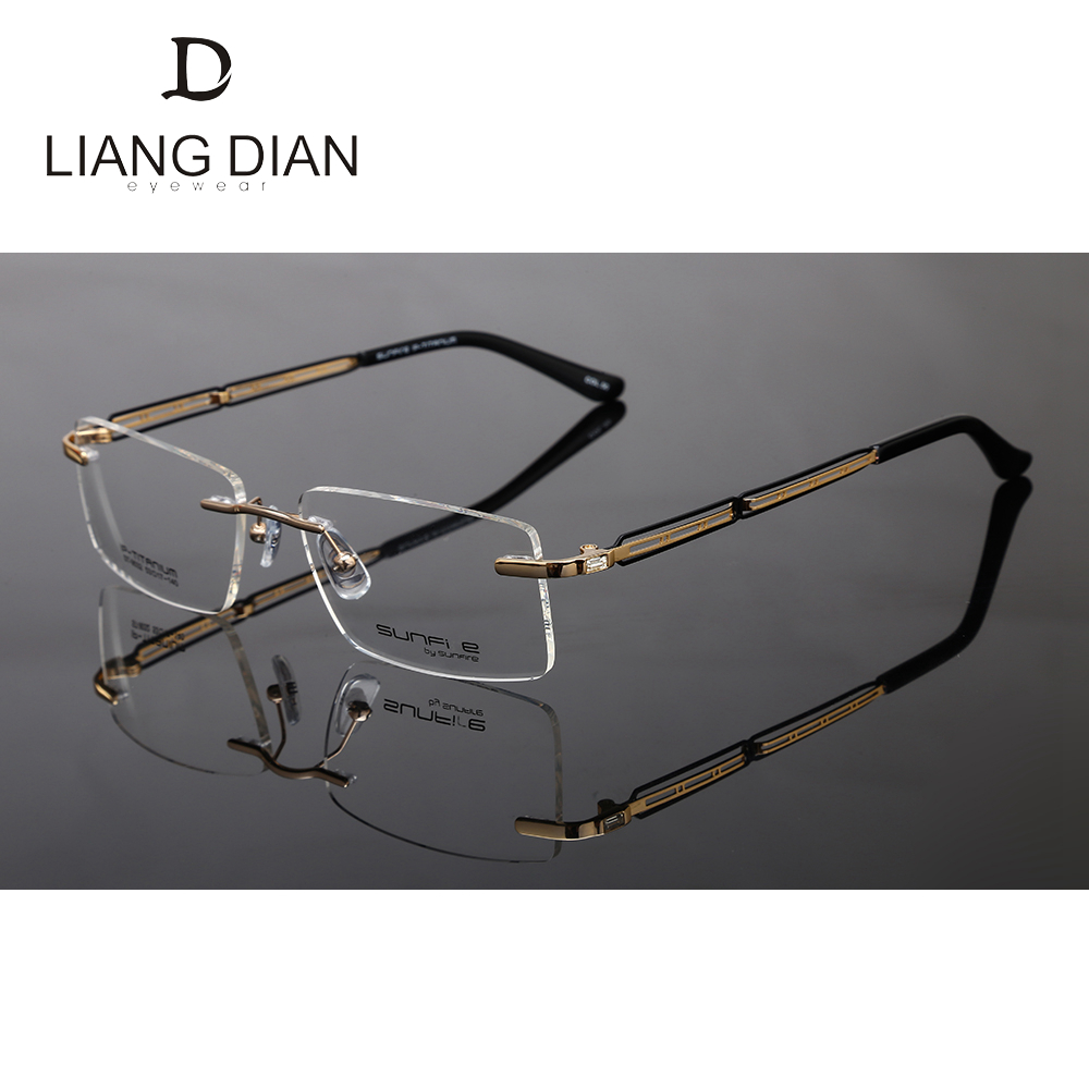 2017 hot sale latest titanium optical rimless glasses frames