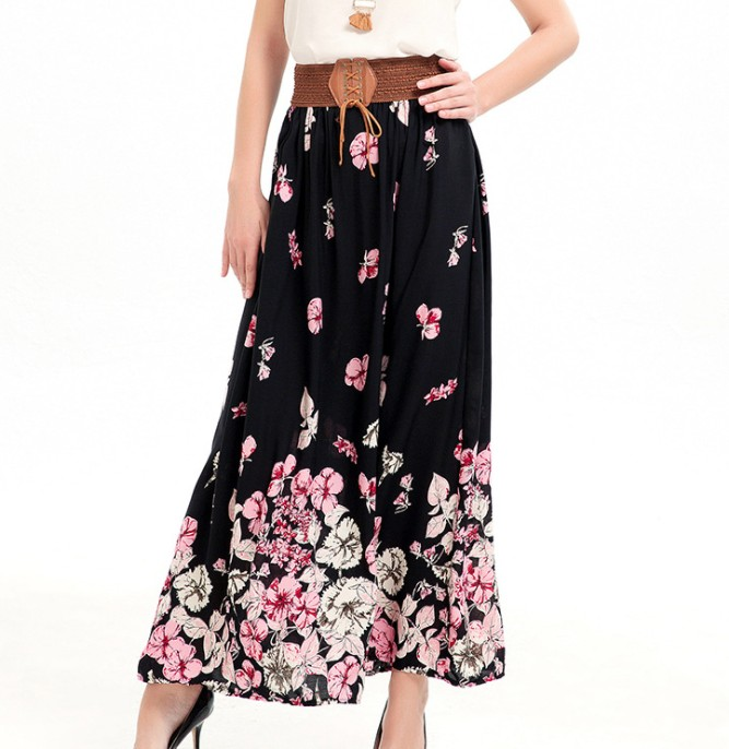 up-0768r Fancy summer printed skirt wholesale long skirts for women