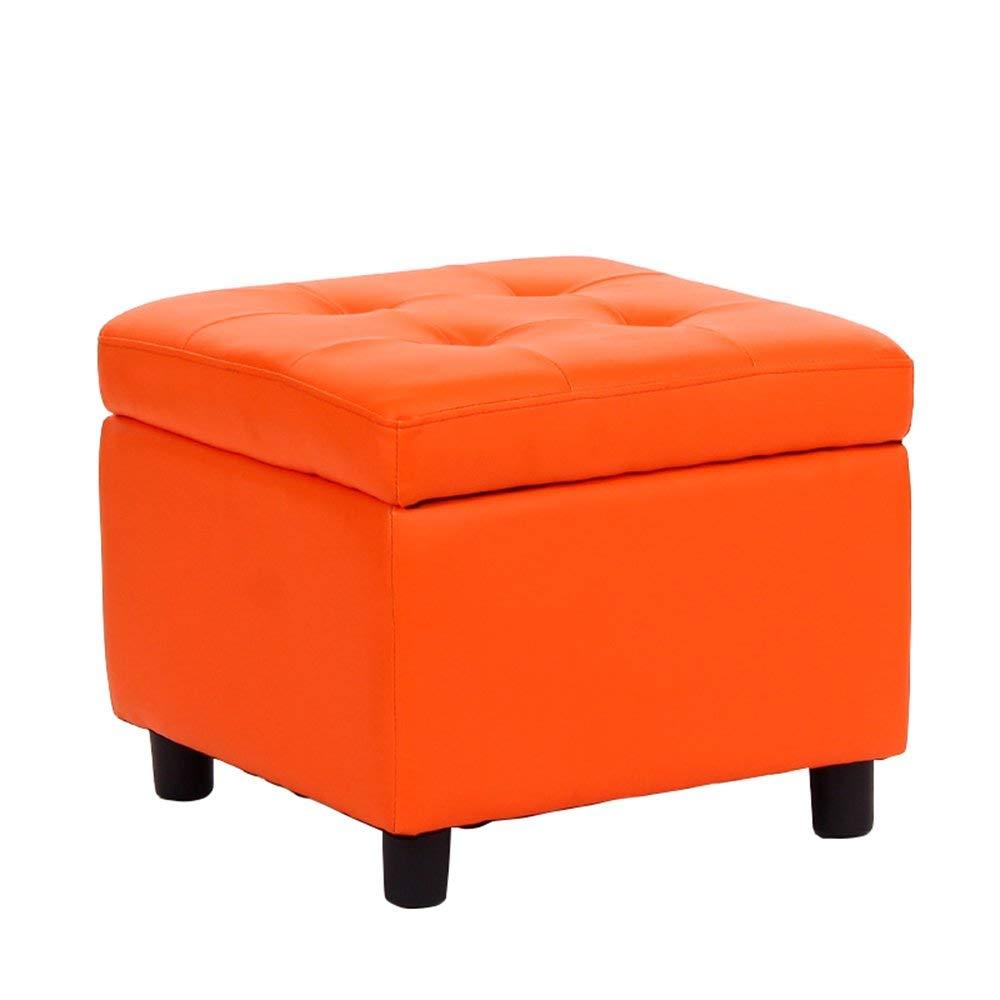 Storage Stool Nail Stool/Sofa Stool/Shoes Storage Stool/Sofa footrest Shoes Stool/Bed Stool Dressing Stool/Coffee Table Stool/Multifunctional Footstool /454538cm (Color : Orange)