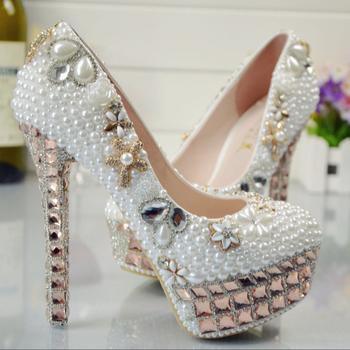 Bs033 Women White Pearl High Heels