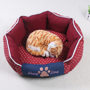 Cheap oval dot printed pets bed for small cats