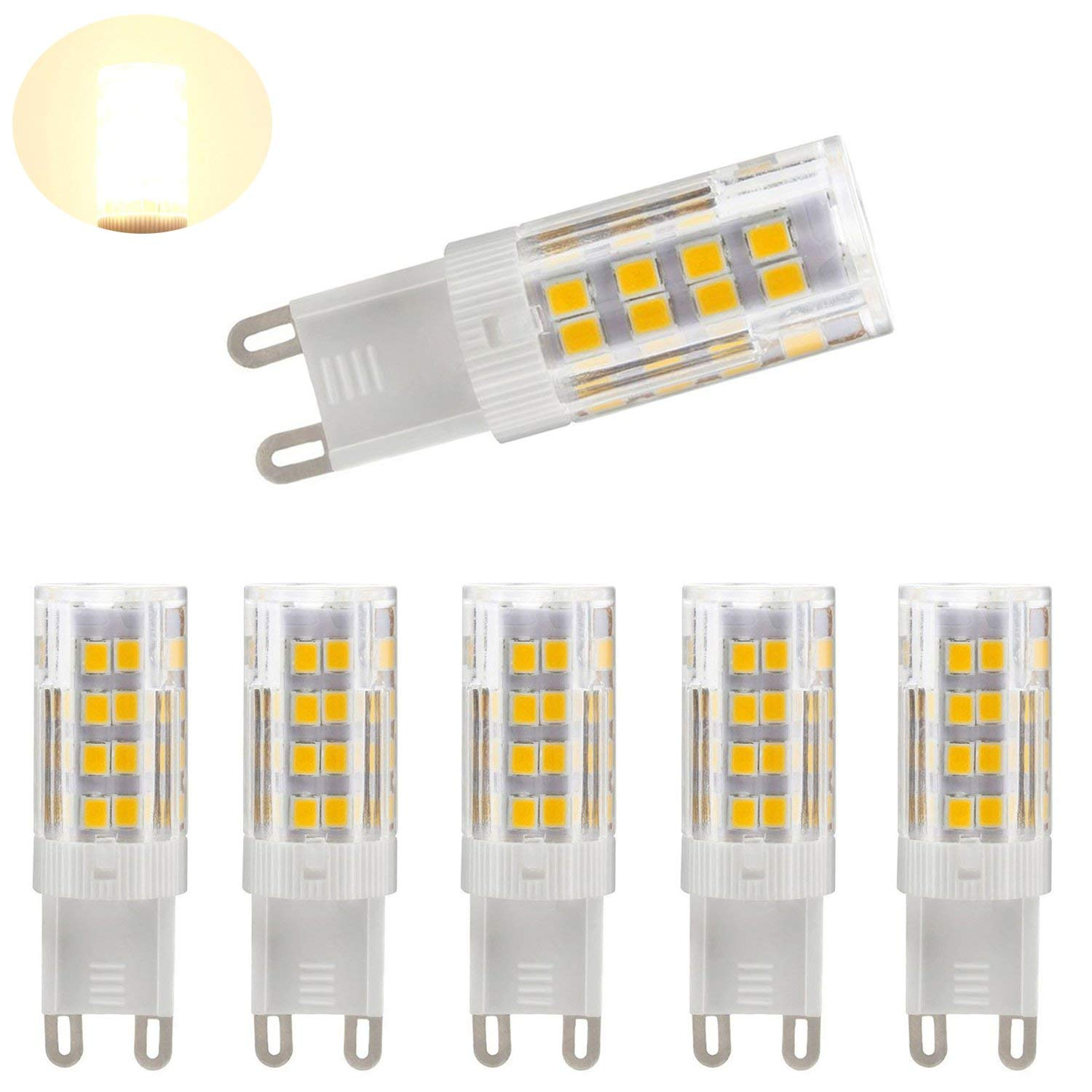 G9 LED Dimmable Light, Bi-pin Base, Warm White 3000k,4W ( 40W Halogen Equivalent ) T4 JD Type LED G9 Bulb 400LM, AC100V-130V (5 pack)