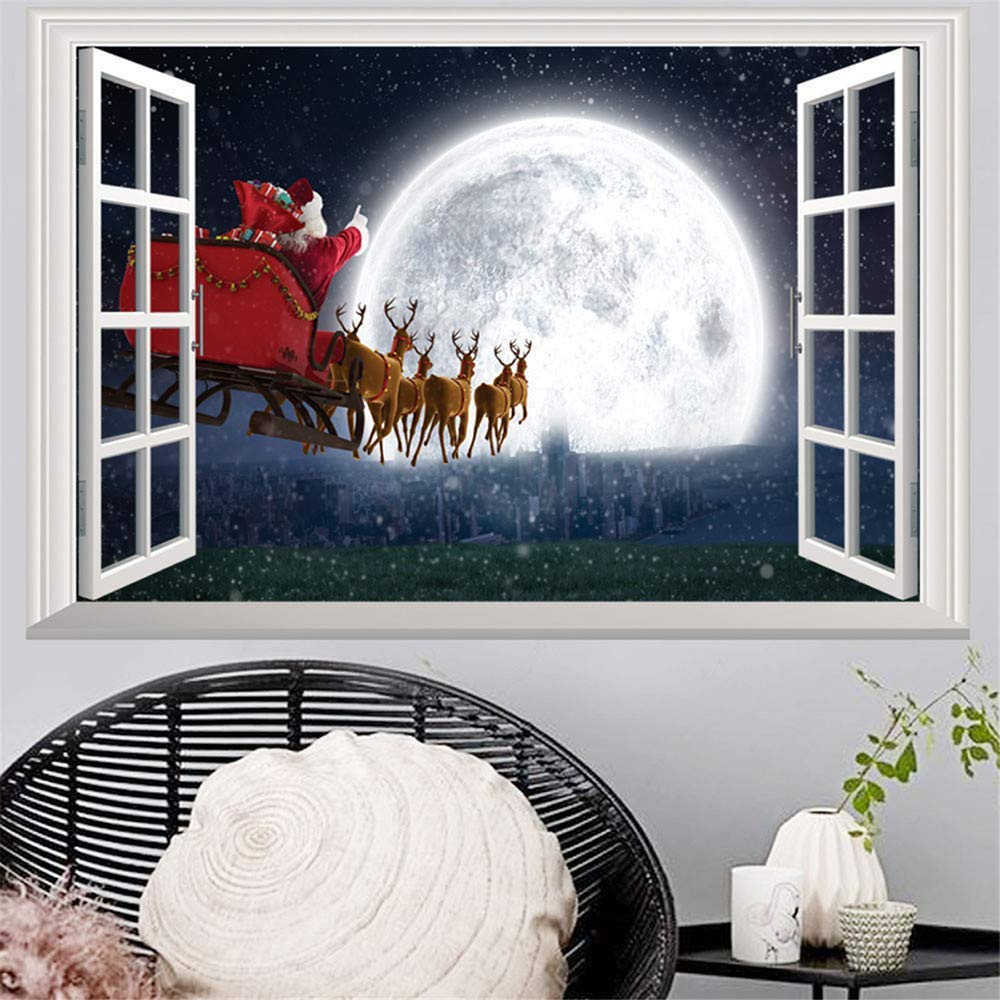 Rumas Happy Halloween Window Decoration - 3D Lifelike Window Wall Stickers for Living Room Kids Room - Art DIY Removable Wall Decals - Bathroom Decor (E)