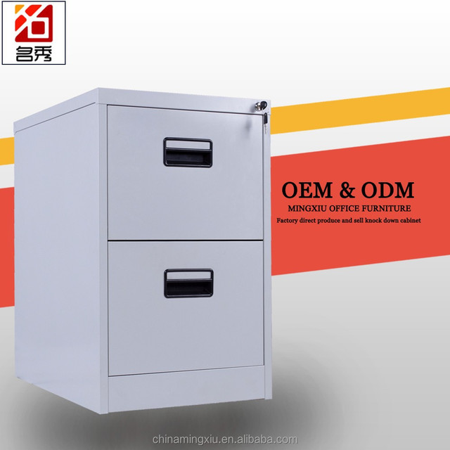 Exceptionnel Assembled Grey 2 Drawer Vertical Steel Filing Cabinet Locking Mechanism