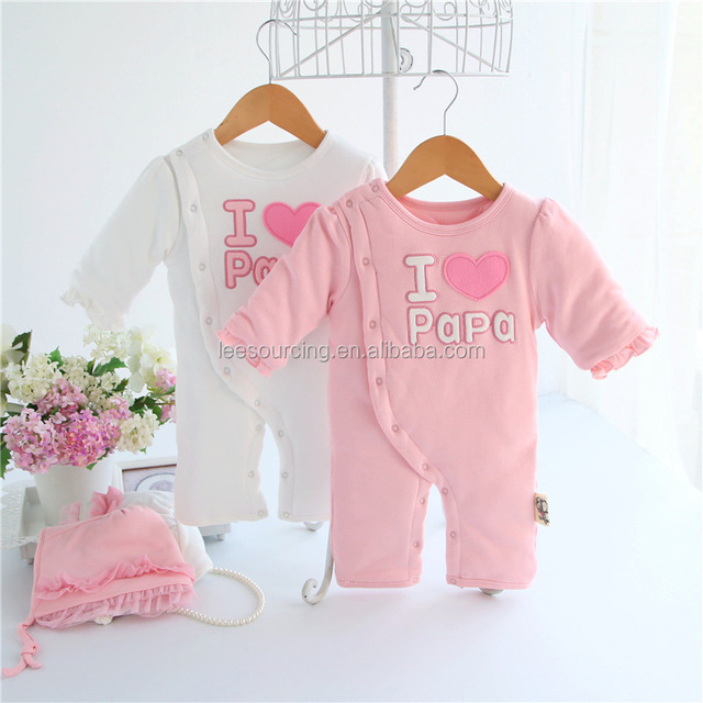 Wholesale cheap designer infant fashion newborn baby clothes cotton baby I love papa romper girl bodysuit for winter