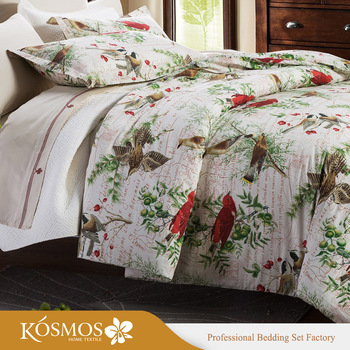 4pcs Red Bird Printing Flat Sheet King Size Fitted Single Bed Sheets