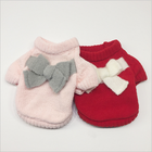 Bow Girl Pet knitted Dog Knit Sweater Clothes Winter Dog Coat Pink Red