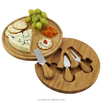 Custom bamboo cheese board with tools set round bamboo cheese board