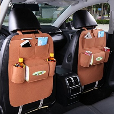Multi Pocket Hanging Felt Backseat Polyester Baby Foldable Bag Car Organizer With Tablet Holder
