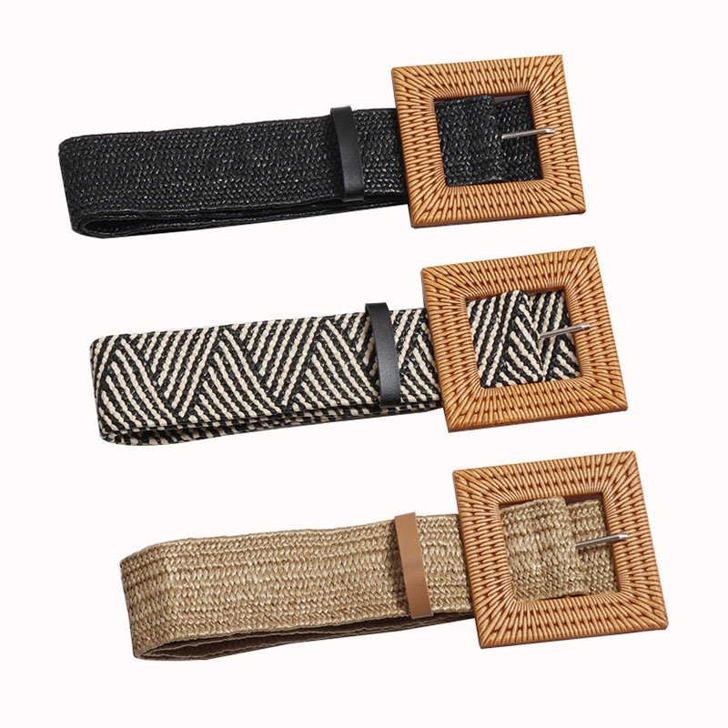 Fashion Style Womens Straw Braided Elastic Webbing Belts With Square Buckles