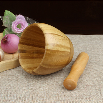 Natural bamboo/ wooden mortar and pestle small size