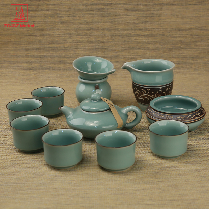 ZGJGZ Chinese Kung Fu Tea Sets Longquan Ceramic Tea Cup Tea Filter Gift Box