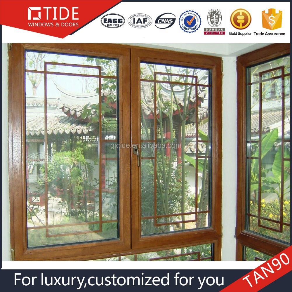 أحدث مصبغة نافذة الهند تصميم ، الخشب الداخلية الألومنيوم