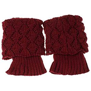 Socks - TOOGOO(R)Women Crochet Knitted Trim Boot Cuffs Toppers Liner Leg Warmer Socks Color:Red