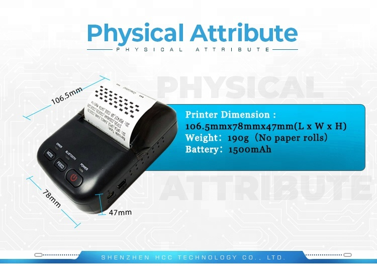 China Supplier Android Handheld Mini 58mm Portable Mobile Ticket Thermal Printer HCC-T12
