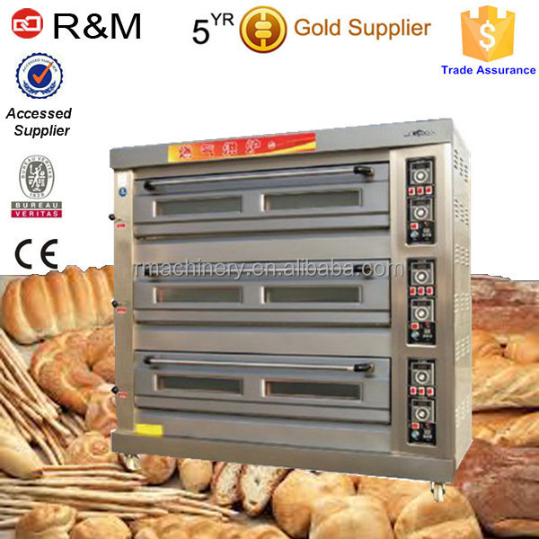 Gas oven with 3/6/9 trays,single/double/three deck oven gas