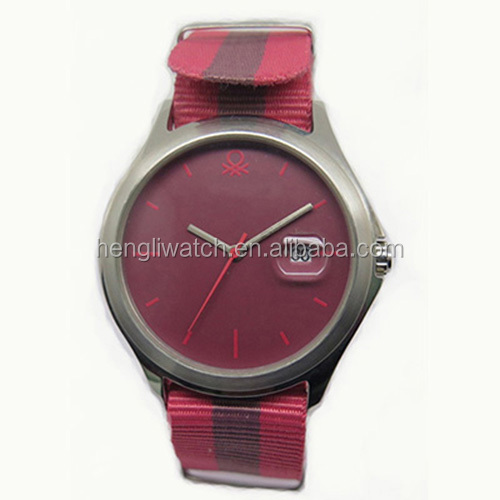 High quality stainless steel case Nylon strip fashion mens watch with date & protruded lens