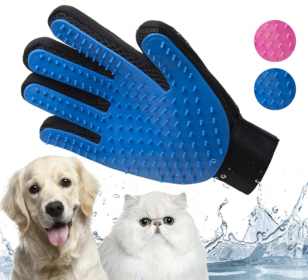 Gentle Pet Grooming Glove Brush, Gentle Deshedding Brush Glove