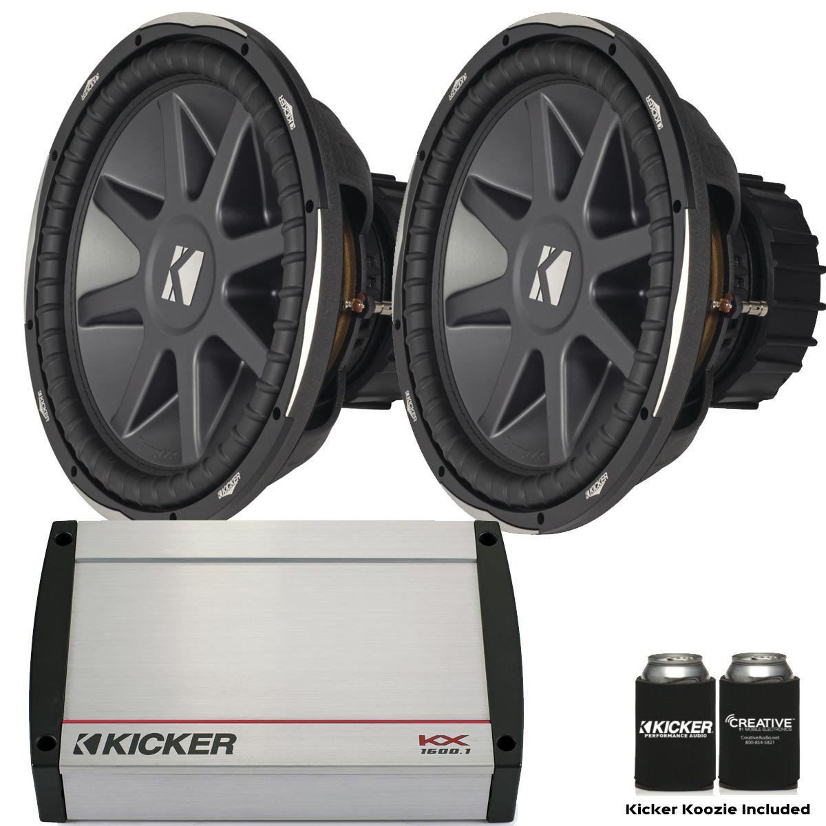 "Get Quotations · Kicker Bass Package - Two 15"" CompVX Dual 2 Ohm Subwoofers  and a KX1600."
