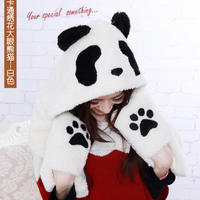 MOON BUNNY Fashion Panda 2016 Glove Hat and Scarf Set for Women, Lint Woven Scarves for Woman Winter Hats for Men Scarf wholesal