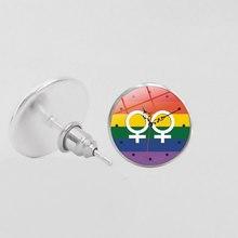 Женские радужные серьги-гвоздики LBGT, круглые стеклянные заклепки, геев, лесбиянок, транссексуалов(Китай)