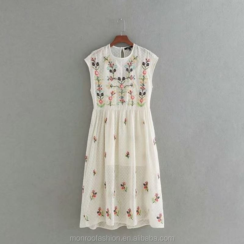 monroo 2017 women vintage Short sleeve floral embroidery two pieces long dress elegant fashion casual slim dress