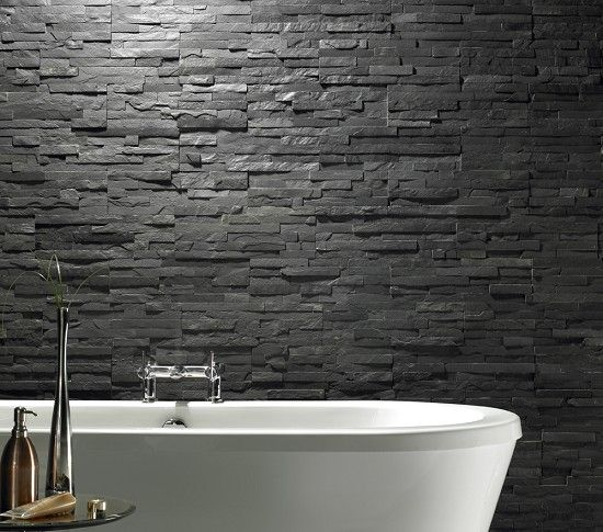 Dark Charcoal Stacked Stone Wall Tiles Decorative Stone - Buy ...