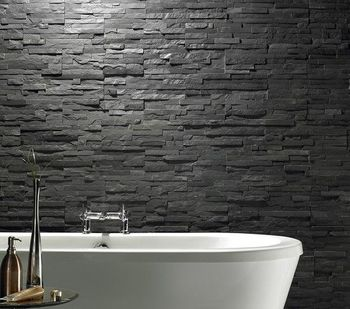 Dark Charcoal Stacked Stone Wall Tiles Decorative