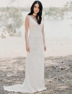 Latest Plain Satin Bodycon Simple Wedding Gowns Bridal Dress Plus Size 2019