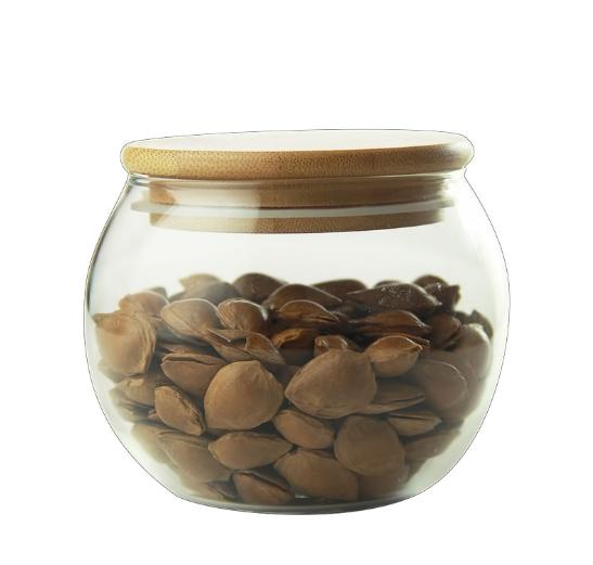 Borosilicate 500 ml Vòng Hình Dạng Lọ Thủy Tinh Lọ với Tre Nắp bằng gỗ