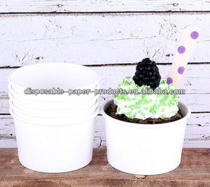 polka dot paper party Tableware Supplies YIWU White Ice Cream Cups or Fruit Cups