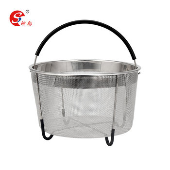 Home Cooking Accessories Stainless Steel Mesh Strainer Steamer Basket Stainless Steel Basket With Silicone Handle