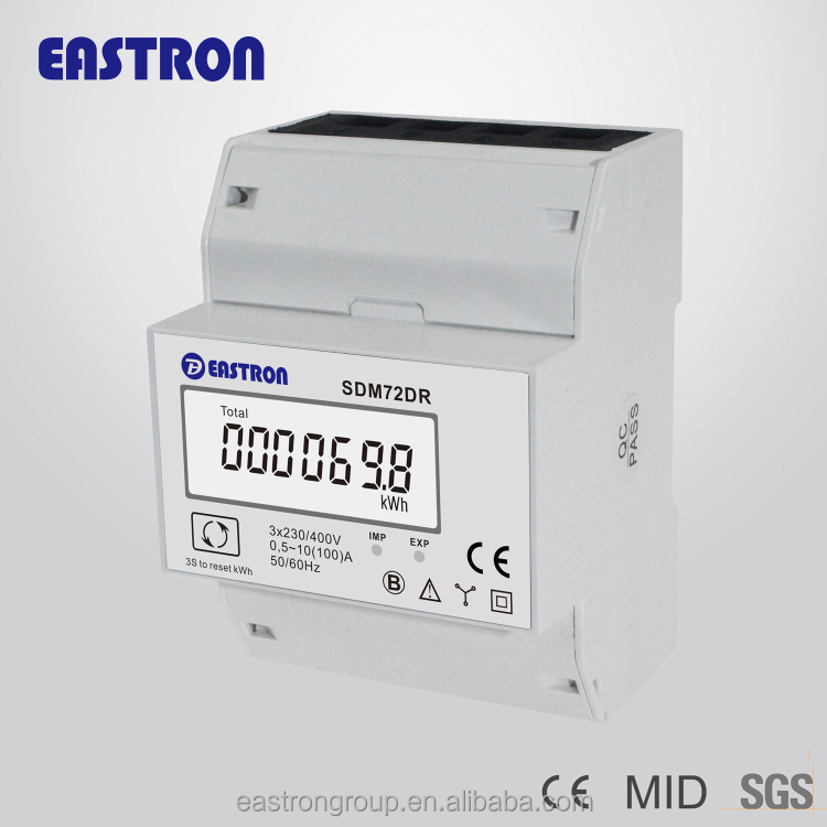 SDM72DR 3 phase 4 wire din rail kwh meter 0.5~10(100)A 3x230/400V CE approved