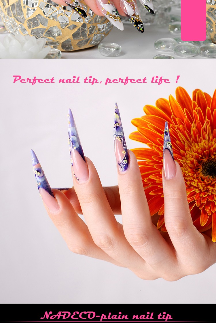 Manufacturer Clear Extra Long Pointed French Salon Nail Art Fake ...