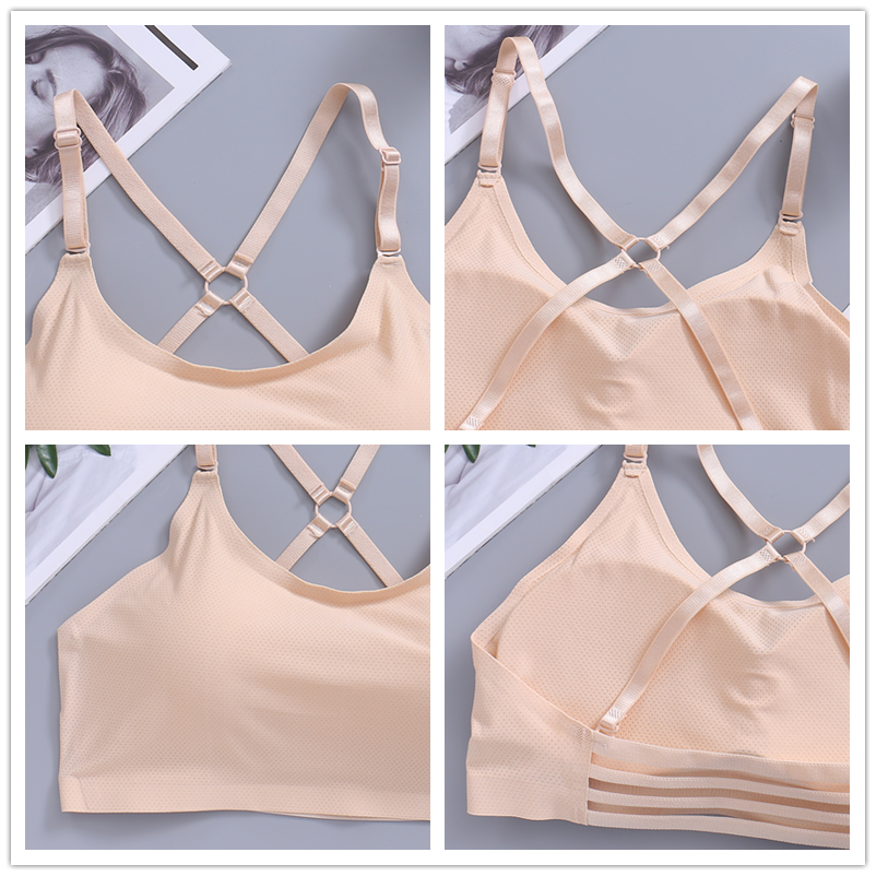 ice silk seamless padded bra bandeau   one piece adjusted straps wrapped chest bra  yoga sports