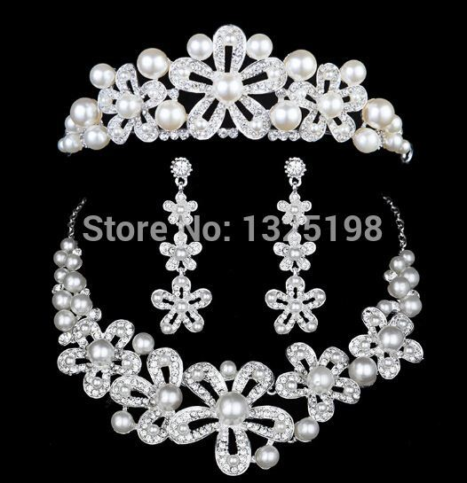 Wholesale 1set/lot Alloy plated pearl necklace earrings Bridal ...