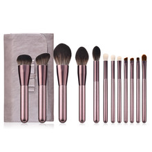 Gute Qualität <span class=keywords><strong>12</strong></span> PCS Weiche Synthetische Make-Up Pinsel Set Lila Mit Fall Private Label