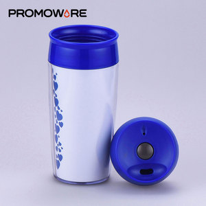 Screen Printed BPA Free Plastic Cup Promotional Custom 16 oz Plastic Cup with On Off Button Lid TMPP0375