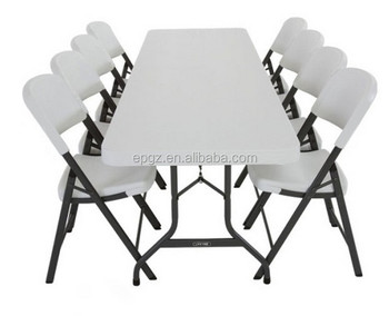 8 People Used Industrial Cafeteria Folding Table And Folding Chairs For Sale