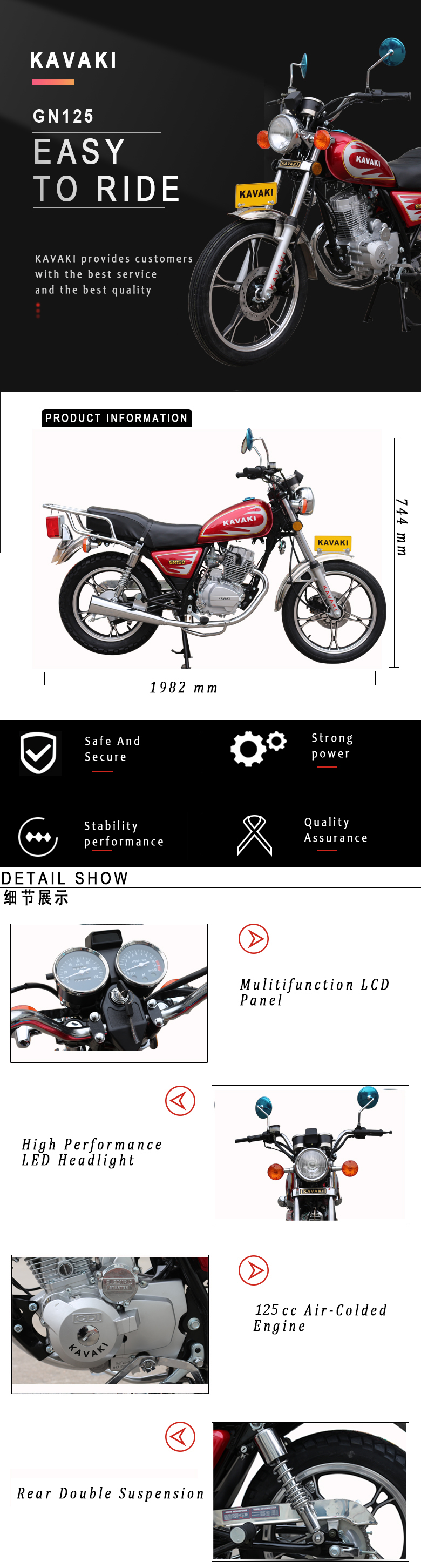 superior quality tricycle motorcycle gasoline 125 cc motorcycle dirt bike