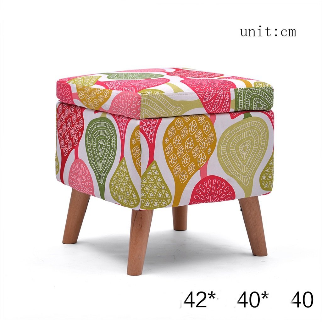 LQQGXL European chair Stool Solid wood shoes stool Storage stool stool Sofa stool Coffee table stool Cloth makeup stool Storage stool (Color : E)