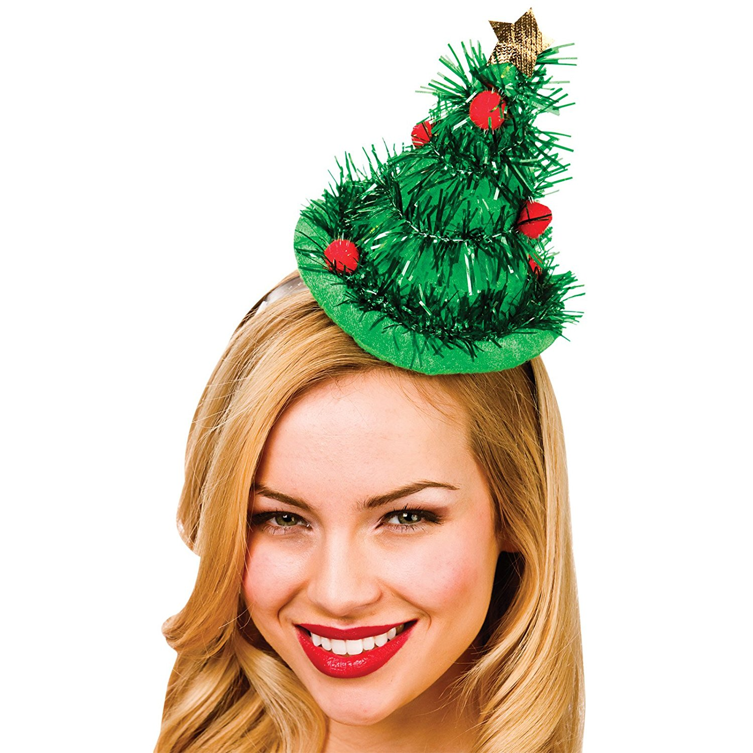 aeda600094c20 Adult Green Tinsel Christmas Tree Hat on Headband for Party Night Outs