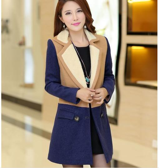 2015 новых женских шерстяное пальто, Мода шить шерстяное пальто нагрудные отложным воротником нейлон шерстяное пальто