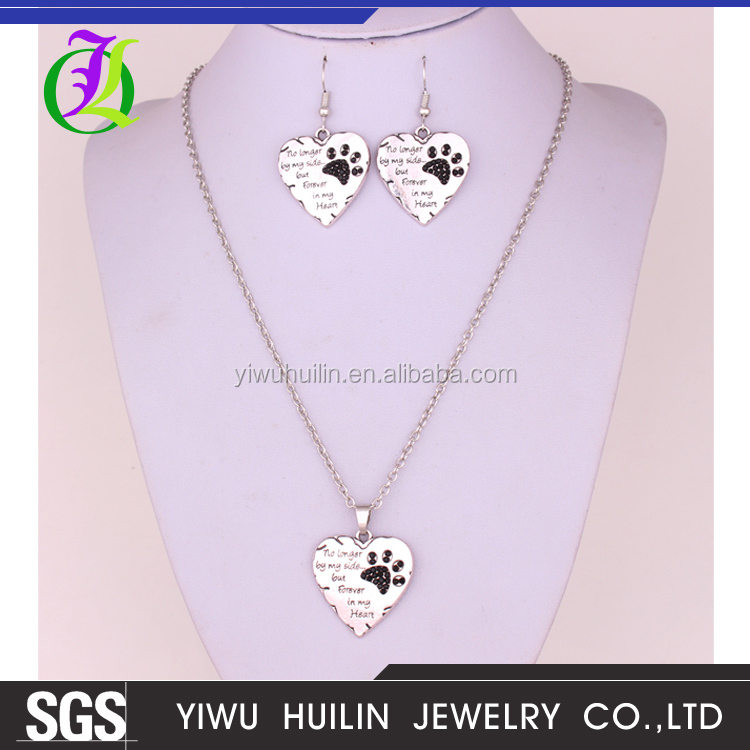 "J700034 Huilin Jewelry Necklace Earring <strong>Set</strong> ""No longer by my side but Forever in my Heart "" Paw Print bridal wedding jewelry <strong>set</strong>"