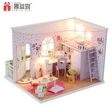 Wooden toys Educational Kid DIY Wooden Dollhouse Miniature Best Birthday Gift for Girlfriend Wood Intelligence Toy The best time