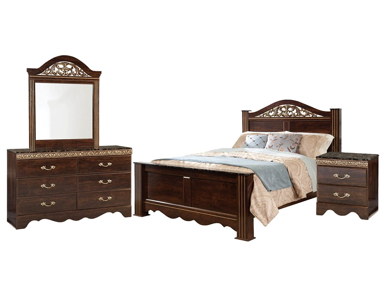 Get Quotations · Standard Odessa Bedroom Set With King Bed, Nightstand,  Dresser, Mirror And Chest