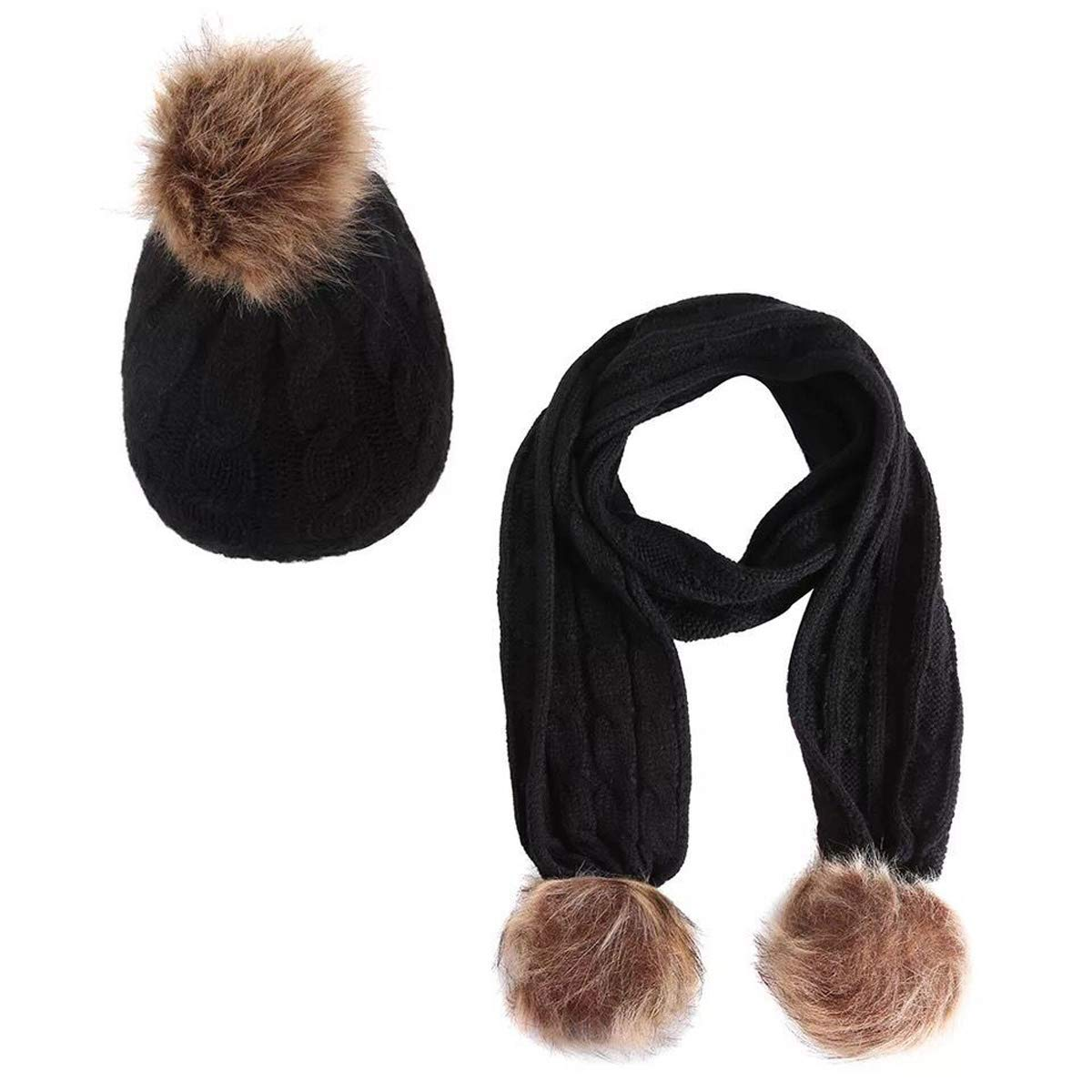 24074296f26 Get Quotations · Lanzom 2pcs Baby Girls Boys Winter Hat Scarf Set Infant  Toddler Knit Warm Cap + Scarf