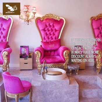 Bomacy American Style Hot Pink Gold Throne Chair Luxury