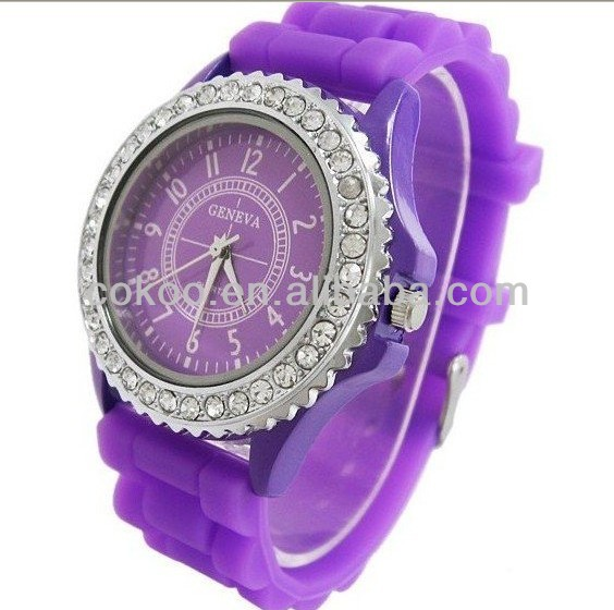 New Fashion Designer Sports Geneva Watch brand silicone watch jelly watch 15 colors quartz watch for women men